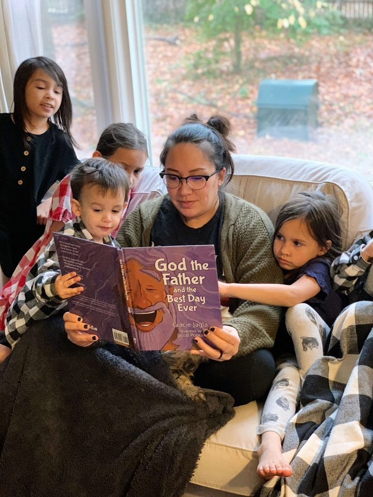 mom reading to kids God the Father and the Best Day ever book