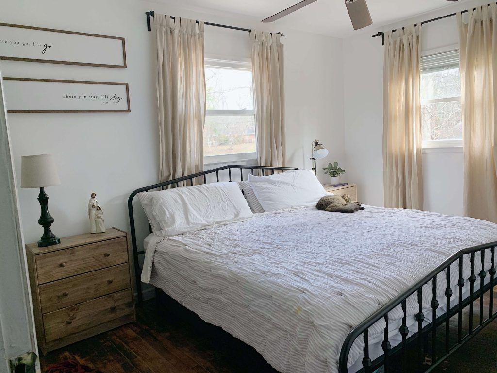 white simple small bedroom