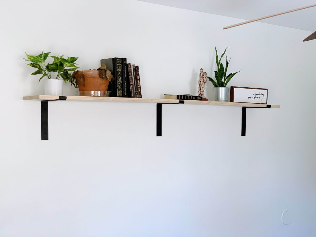 wall shelf with books and plants