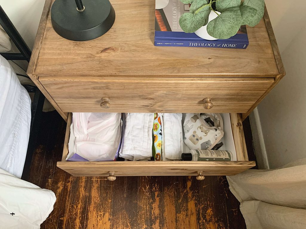 baby organization in nightstand
