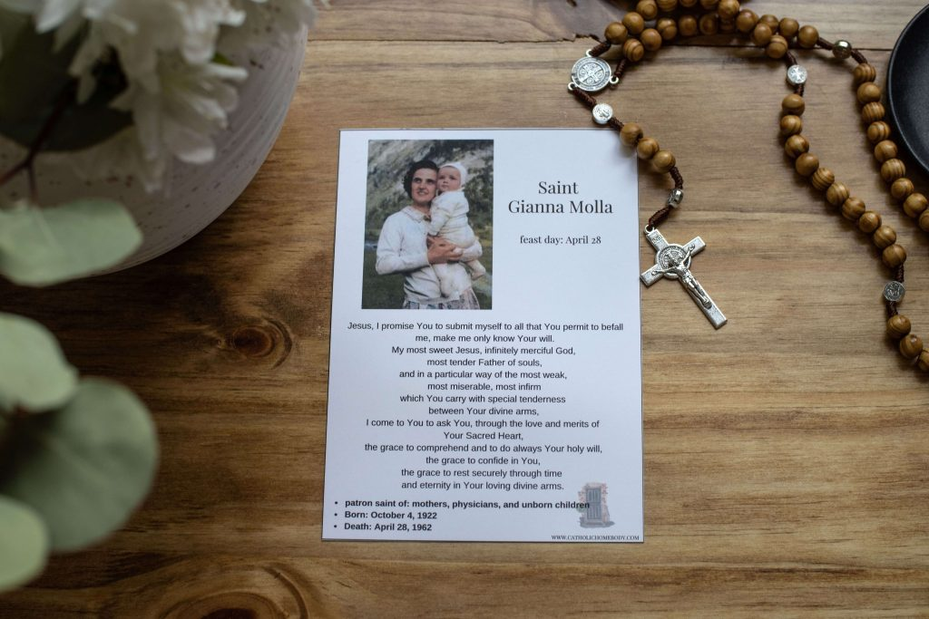 FREE St Gianna Molla Prayer Card