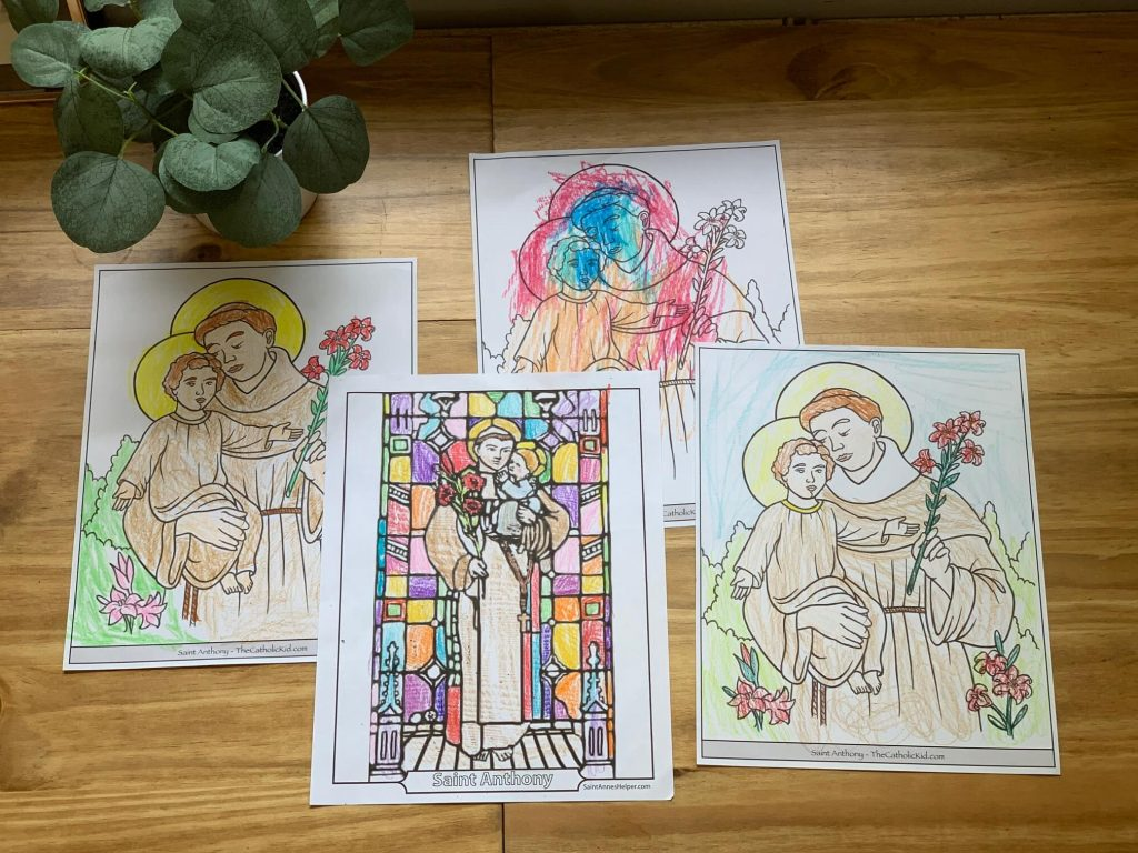 different Saint Anthony of Padua coloring pages
