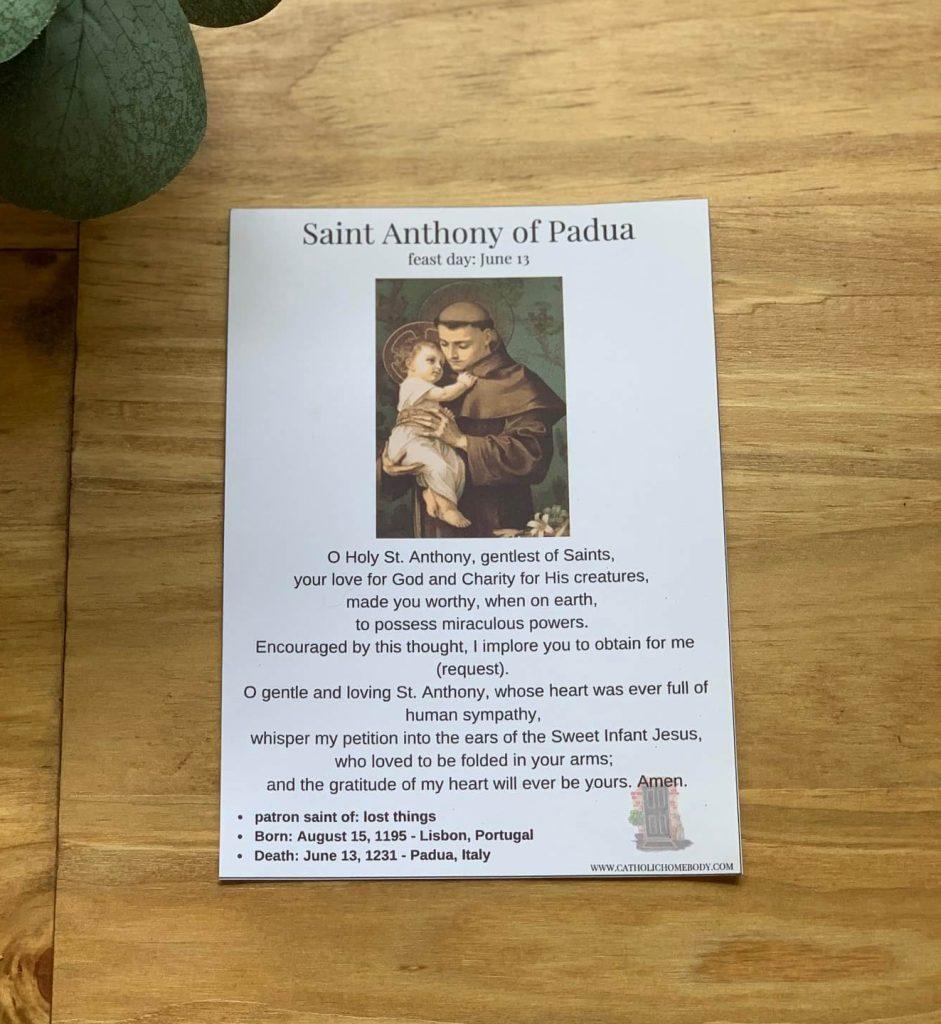5x7 Saint Anthony of Padua prayer card