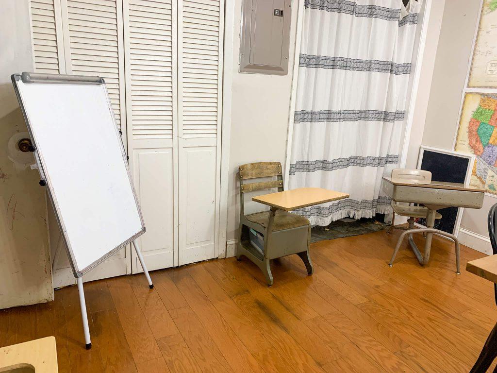 two vintage school desks