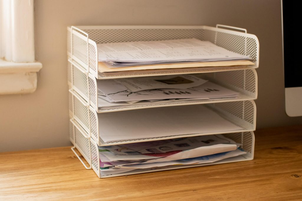 white ikea paper organizer tray for homeschool and small office organization