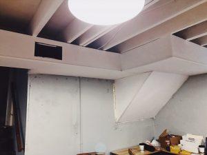 Open Painted basement ceiling