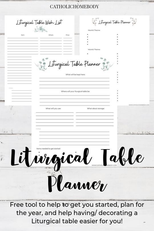 LITURGICAL TABLE PRINTABLE