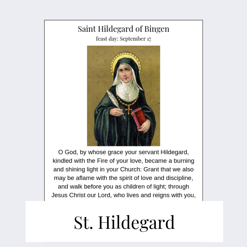 printable saint hildegard prayer card