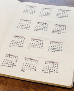 homeschool bullet journal year at a glance