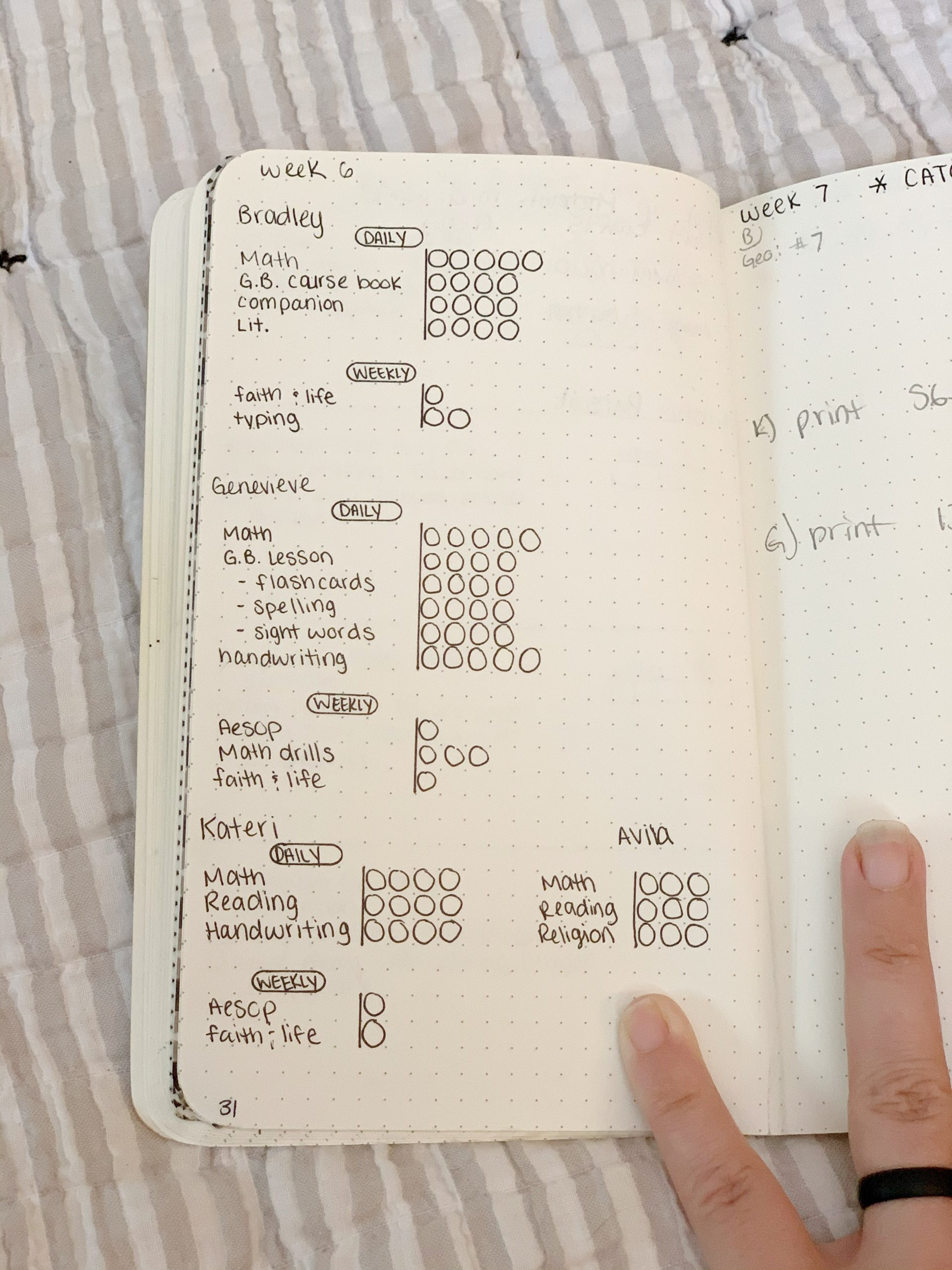 dot grid bullet journal laid out on bed