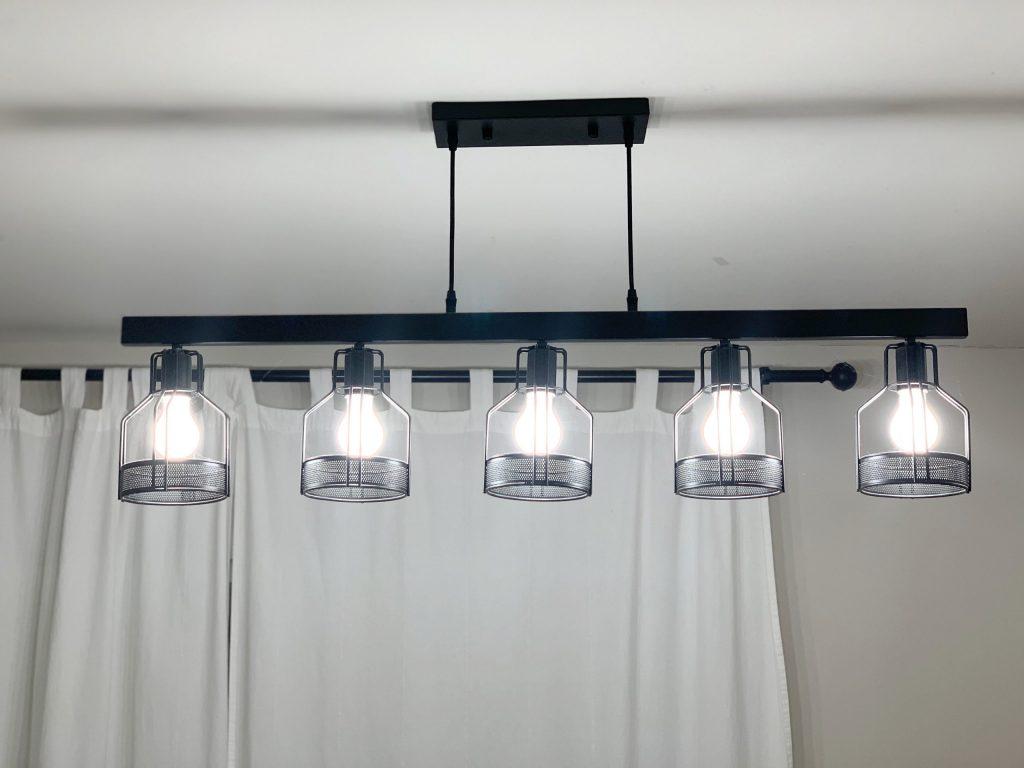 long industrial black metal light fixture